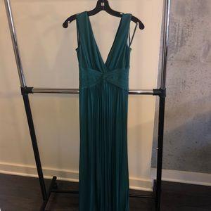BCBGMaxAzria Green V-neck Twist Ballgown